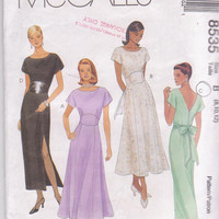 Pattern for semi-fitted special occassion dress mid-calf length, straight or flared skirt misses size 8 10 12 McCall's 8535 CUT and COMPLETE