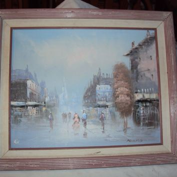 Vintage canvas oil painting hudson valley artist signed Adams Asian city art