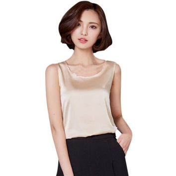 Solid Candy Colors Tops Vest Women Summer Sleeveless Short Tank Tops Imitated Silk Tank Top Women Clothes