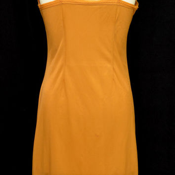 Vintage 50s 60s Light Rust Color Nylon Slip With Pleating Detail
