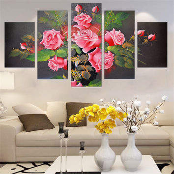 Modular Oil Painting Frameless Rose Flowers Wall Art Poster Canvas Picture Home Decoration Print on Canvas for Living Room 5pcs