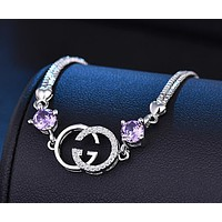 GUCCI Trending Women Stylish Double G Diamond Bracelet Hand Catenary Jewelry Accessories