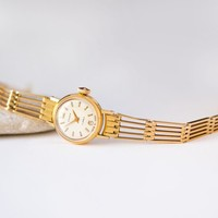 Gold plated cocktail wristwatch, small woman's watch Seagull, delicate lady watch soviet, classic watch bracelet, bride gift watch retro