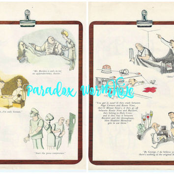 Vintage 1969 60's Funny Doctor Surgery Medical Cartoon Double Sided Wall Art Decor Man Cave Print