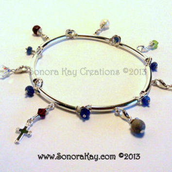 Sterling Silver Purity Charm Bracelet with Cross Charm stamped .925