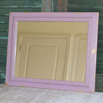 Distressed purple and gold wall mirror - Purple decor, rectangular mirror, painted mirror