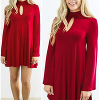 Somebody To Love Red Bell Sleeve Keyhole Cutout Trapeze Dress