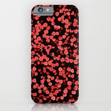Red and pink on black, asymetric dots, sequins pattern iPhone & iPod Case by Peter Reiss