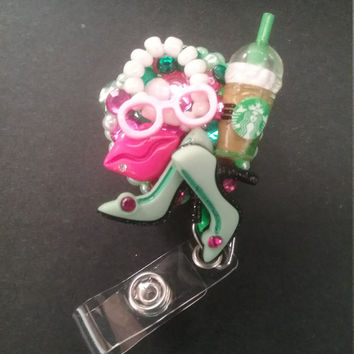 Pink and Green Shoe Lover, AKA Inspired, Coffee ID Badge Reel Badge Holder