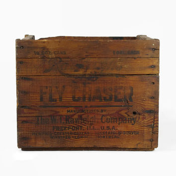 Vintage Wood Crate, Wooden Shipping Box, Storage Organizer, Rustic Industrial Decor, Fly Chaser