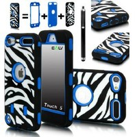 iPod Touch 5 Case, E LV iPod Touch 6 Case - Hybrid Armor Defender Case for Apple iPod Touch 5 / 6 iTouch 5th 6th Generation with 1 Screen Protector, 1 Stylus and 1 E LV Microfiber (Blue)