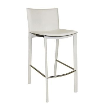 "Panca Counter Stool 26"" White Bonded Leather Steel Frame"