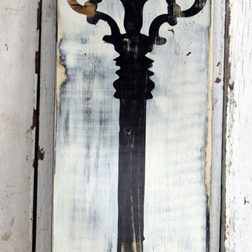 Black Skeleton Key Hand painted and distressed sign by MannMadeDesigns4
