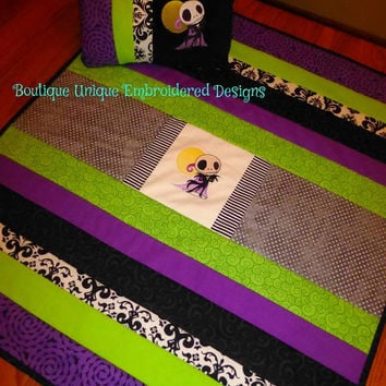 Jack Skellington Baby Quilt Blanket & Pillow Nursery Set Embroidered Design AMAZiNG BrighT CoLoRs! Baby Shower Gift! Designs by Sugarbear