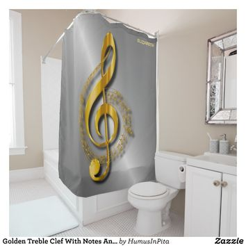 Golden Treble Clef With Notes And Shadows Shower Curtain