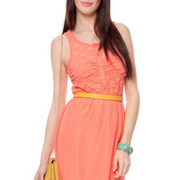50/50 Lace Dress in Coral :: tobi