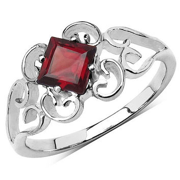 0.75 Carat Genuine Garnet .925 Sterling Silver Ring