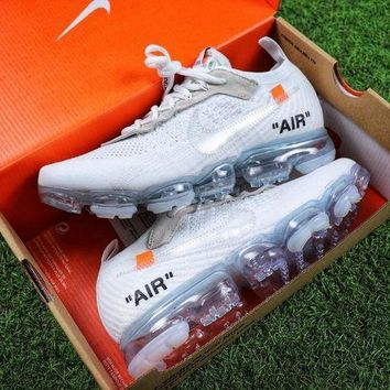Tagre™ ONETOW Best Online Sale OFF WHITE x Nike Custom Air VaporMax 2.0 OW Sport Running Shoes White Ice Blue Sneaker