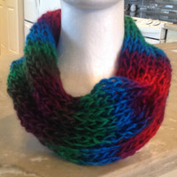 Jewel Tone Knitted Infinity Eternity Cowl Chunky Winter Scarf