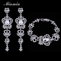 Minmin Luxury Silver Crystal Bridal Jewelry Sets for Women Wedding Earrings Bracelets African Beads Jewelry Sets EH163+SL026