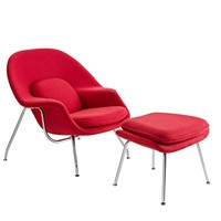 W Upholstered Fabric Lounge Chair With Ottoman Upholstered Fabric Lounge Chair