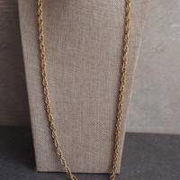 Twisted Rope Chain Necklace Gold Tone Textured Links 34 Inch Vintage