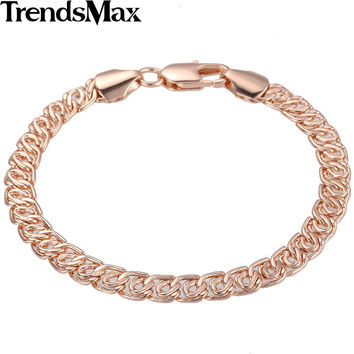 Trendsmax 7MM 7, 8, 9inch Snail Link Rose Gold Filled Bracelet Fashion Womens Mens Chain Unisex Friendship Trendy Jewelry GB293