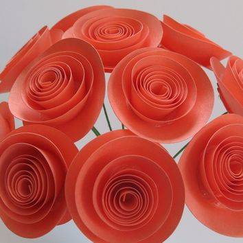 "bouquet of 12 coral paper roses salmon pink rolled paper art small 1.5"" flowers with stem arrangement Girlfriend gift"