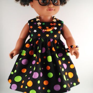 "18 Inch Girl Doll Dress, Stars And Polka Dots Fall Halloween Doll Dress & Jewelry, Made To Fit 18"" Dolls Like American Girl And Springfield"