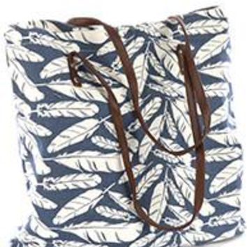 Large Feather Tribal BLUE /White Tote Bag Handbag Purse