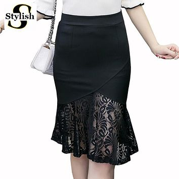 Women Skirt Lace Patchwork High Waist Pencil Skirts 2017 New Korean Elastic Mermaid Skirts Sexy Plus Size Ladies Clothes 5XL