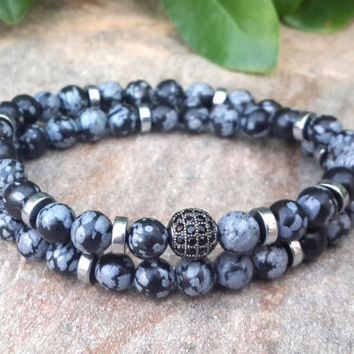 Inner Truth - Men's Diamond Ball, Snowflake Obsidian Double Wrap Bracelet, Diamond Ball Bracelet, Protective, Strength, Gemstone Jewelry