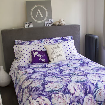 Aeropostale  Love Blooms Bed-in-a-Bag Set - Purple,