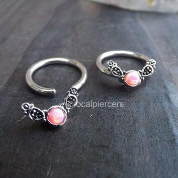 "Pink Opal Captive Ring 14g 1/2"" Daith Opals Septum Cartilage Piercings Nipple Piercing Conch Earrings Body Jewelry Rings Helix Hoop Earring"
