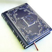 Leather Journal, Blank Book, Navy Blue Leather, A5, Medieval style, Hard Cover, Handmade Gilding, Personalized