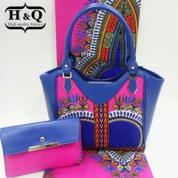 Beautiful design wax bag set.High quality african wax prints fabric 6 yards and woman handbag 3 pieces/set