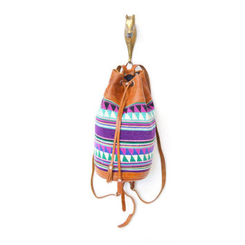 vintage SOUTHWESTERN wool and leather backpack