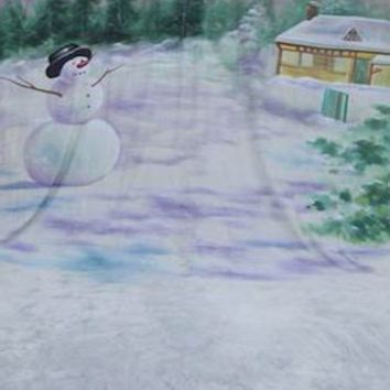 Winter Snowman Scenic Backdrop Hand Painted - 10x20 - LCMSS174 - LAST CALL