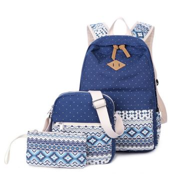 3pcs Navy Backpack Canvas Travel Bag