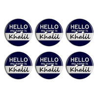 Khalil Hello My Name Is Plastic Resin Button Set of 6