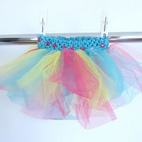 Pink, Yellow, and Aqua Tutu with Pink Rhinestones