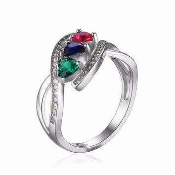 Silver 1.0ct Created Ruby And Sapphire Cluster Ring