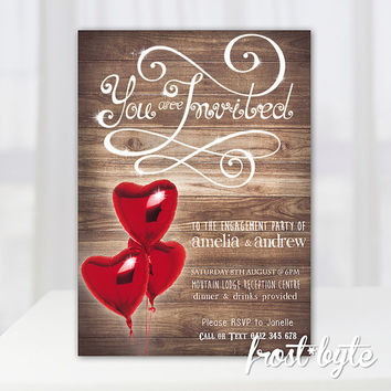 Heart Balloon Engagement Party Invitation - digital file customised for you - red heart shaped balloons on wood design - fun and whimsical