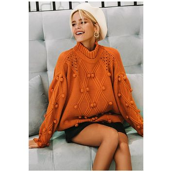 Turtleneck  Hollow Out knitted Pullover Sweater