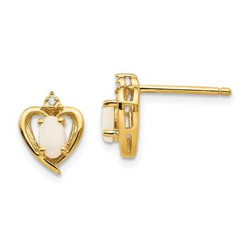 10k Yellow Gold Diamond & Genuine Opal Heart Stud Earrings