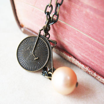 Penny Farthing Bicycle Charm and Pearl Necklace