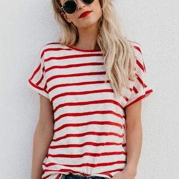 Casual Loose Striped Short Sleeve Round Neck Tee Shirt