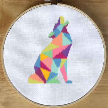 Wolf Cross Stitch Pattern, Geometric Animal Cross Stitch