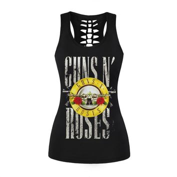 GUNS N' ROSES Skull Printed Tank Top Women Back Hollow Out Sexy Sleeveless Tee Shirt Black Punk Rock Summer Top T-Shirt