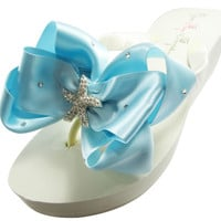 Bridal Wedding Flip Flops with Millennium Blue Starfish Bows-Ivory or White- Choose Heel Height
